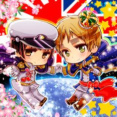 Tags: Anime, Pointing, Cherry Blossom, Axis Powers: Hetalia, Japan, United Kingdom, Hime Cut