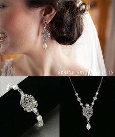 Bridal Jewelry Pearl Wedding Necklace Earrings by CrystalAvenues, $150.00