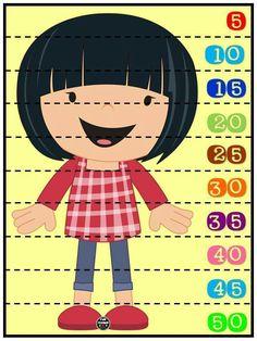 Rompecabezas numéricos para niños. Conteo de 5 en 5. Plastificar y recortar por la línea punteada.