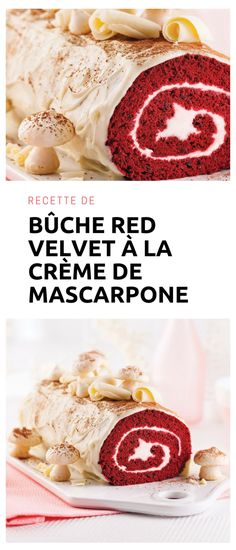 #buche #redvelvet #mascarpone Creme Mascarpone, Holiday Recipes, Red Velvet, Cereal, Breakfast, Desserts, Food, Stove Top Grill, Recipes