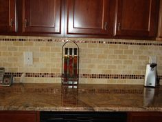 Kitchen Backsplash Accents subway tiles with mosaic accents |  backsplash with tumbled
