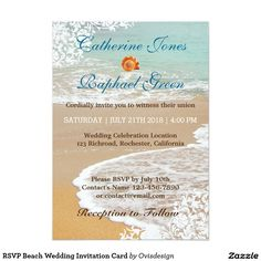 RSVP Beach Wedding Invitation Card