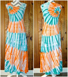 Small Hand Tie Dyed Sleeveless Summer Long Dress Orange & Teal Green 100% Cotton #DharmaTrading #AsymmetricalHem #Casual #Dress #TieDye #JoiNT #JawDroppingNifty3 #JawDropping #Long #Miami #Dolphines