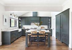 Green Kitchen Cabinets, Teal Kitchen, Kitchen Decor, White Cabinets, Kitchen Ideas, Colored Cabinets, Kitchen White, White Kitchens, Kitchen Layout