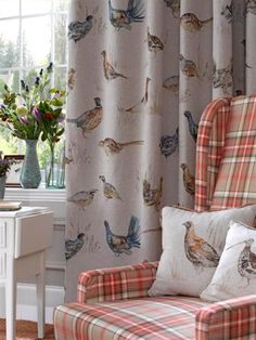 voyage fabrics - game birds in linen Country Cottage Interiors, Country Interior, Country Decor, Country Living, Tartan Decor, Country Style Curtains, English Cottage Style, Textiles, Curtains With Blinds