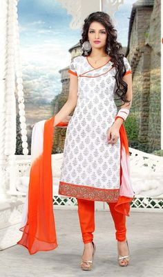 Look awesome wearing this churidar suit in white color cotton. Beautified with lace and resham work all synchronized properly through the pattern and style of the attire. #WhiteBlockPrintChuridarDress