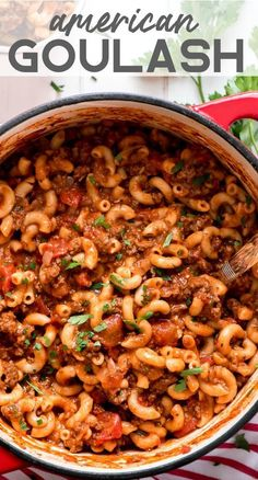 [original_tittle] – Fit Mitten Kitchen – Balanced Real Food & Healthy Baking [pin_tittle] American Goulash is an easy old-fashioned comforting meal that is perfect for the cold winter months. Everything cooks in the same pot, even the pasta! Crockpot Goulash Recipe, Easy Goulash Recipes, Gourmet Recipes, Beef Recipes, Cooking Recipes, Healthy Recipes, Cooking Fish, Cooking Bacon, Fall Recipes