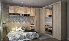 produto Small Bedroom Wardrobe, Small Master Bedroom, Closet Bedroom, Bedroom Storage, Fantasy Rooms, Bedroom Furniture, Small Spaces, Room Decor, Wardrobes