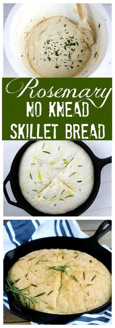 Rosemary No Knead Skillet Bread - Delicious and easy, this loaf bakes up quickly. Fresh, simple olive oil, rosemary and seasoning for the perfect rise and bake yeast bread in a skillet. (Bread Recipes No Knead) Iron Skillet Recipes, Cast Iron Recipes, New Recipes, Cooking Recipes, Favorite Recipes, Recipies, Monkey Bread, Cocina Light, Skillet Bread