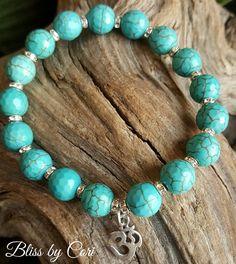 Turquoise & Sterling Silver Om Stretch Bracelet - Reiki, Energy, Spiritual, Yoga, Meditation, Boho, Mala, Unisex *FREE SHIPPING*  by BlissbyCori on Etsy $30.00