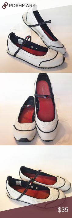 Tommy Hilfiger Mary Jane Sneakers Super cute white Mary Jane sneakers from Tommy Hilfiger! Worn a handful of times but are in awesome condition! Great for running errands and looking cute. Pair them with a jean skirt or capris and you will look super casual chic cute  Tommy Hilfiger Shoes
