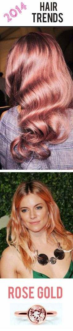 2014 Hair Trend ALERT: Rose Gold Hair Color! The perfect combination of pinkish-golden hues. #hairtrends #blondes #rosegold