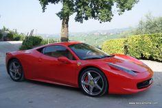 Ferrari car in the Langhe area (Piedmont, Italy)