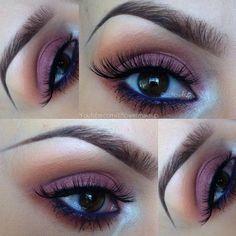 Cranberry Eyeshadow + Purple Waterline Makeup Look