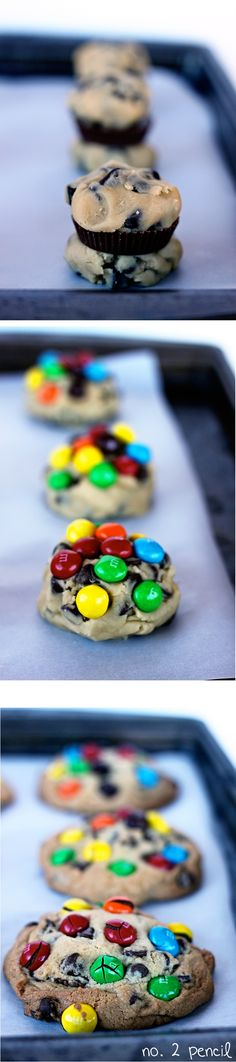 Peanut Butter Cup Stuffed Chocolate Chip Cookies with Peanut Butter M and Ms..