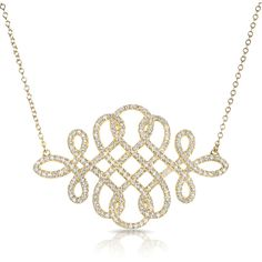 14kt yellow gold diamond woven lace necklace (2,235 CAD) ❤ liked on Polyvore featuring jewelry, necklaces, diamond pendant necklace, diamond necklace, yellow gold necklace, gold diamond jewelry and gold pendant