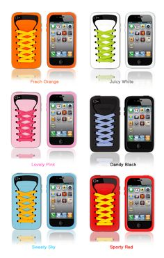 """shoelace iphone cases. you can put id cards and other things in the """"pocket"""""""