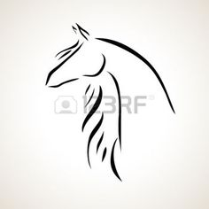 tatouage cheval: stylisé vecteur silhouette d'un cheval Illustration