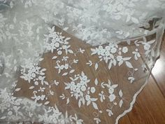 55 Wide White Floral Embroidered Fabric Bridal by prettylaceshop