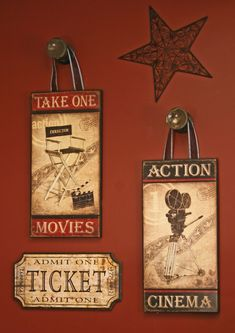 Movie room. Movie signs look awesome hanging from our large wood knobs!