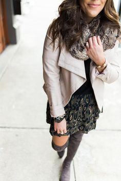 Winter Outfits to Copy:: Ft. Leopard Skirt, Faux Leather Jacket, Grey Over The Knee Boots, Faux Fur Scarf