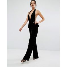 Bec & Bridge Midnight Sage Jumpsuit ($260) ❤ liked on Polyvore featuring jumpsuits, black, plunge-neck jumpsuits, tall jumpsuit, ruffle jumpsuit, open back jumpsuit and plunging neckline jumpsuit