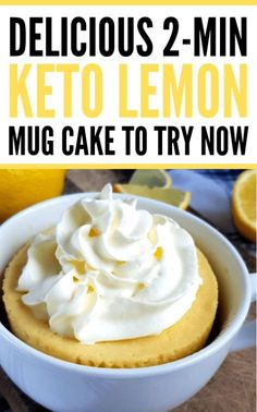 Keto lemon mug cake in a microwave in 2 minutes or less! Try this delicious almond flour mug cake recipe for a quick&easy treat. This keto friendly lemon mug cake is the best low carb dessert you will ever try! Keto Friendly Desserts, Low Carb Desserts, Low Carb Recipes, Diet Desserts, Diet Drinks, Keto Cookies, Chip Cookies, Mug Recipes, Dessert Recipes