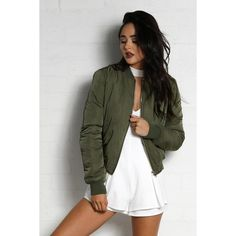 Game Change Bomber Jacket -Khaki ($109) ❤ liked on Polyvore featuring outerwear, jackets, khaki jacket, bomber style jacket, blouson jacket, tall jackets and khaki bomber jacket