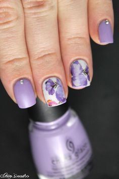 lilac floral nail art #waterdecalq #skittlette #nails #cocosnailss