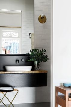Scandinavian bathroom with shiplap wall and floating vanity Laundry In Bathroom, Bathroom Renos, White Bathroom, Bathroom Interior, Modern Bathroom, Small Bathroom, Bathroom Ideas, Bathroom Taps, Kitchen Modern