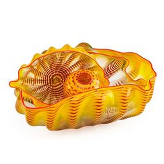 """DALE CHIHULY (b. 1941) Four-piece Yellow Seaform Set with Red Lip Wrap, Seattle, WA, 1999 Blown glass Smallest piece signed and dated Largest: 6 1/4"""" x 12"""" x 9"""""""