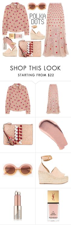 """""""REDValentino Polka-dot silk shirt"""" by thestyleartisan on Polyvore featuring RED Valentino, Temperley London, Anya Hindmarch, Burberry, Max&Co., Chloé, Estée Lauder and Yves Saint Laurent"""