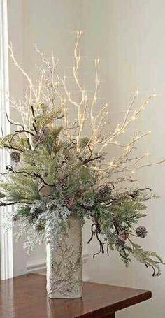 dekoration med hvide grene