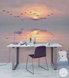 Bedroom Decor Discover Pastel Twilight Contemporary - Office Pixers We live to change Bedroom Wall, Bedroom Decor, 3d Wallpaper In Bedroom, Bedroom Ideas, Office Wallpaper, Bedroom Murals, Interior Design Living Room, Interior Decorating, Decorating Games