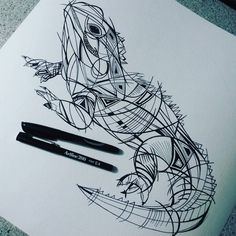 "fionaclarkeart: ""Tuatara - up at 5am working on this one, love this life:) #art #illustration #lizard #nznative #nzwildlife #pencilsketch #geometrictattoo #geometric #tattoostyle #artline200fine04 #pattern #inked #ink """