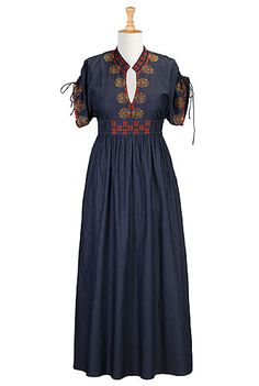 I <3 this Floral embellished chambray denim maxi dress from eShakti