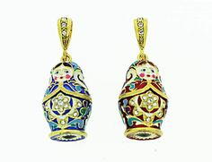 Gold Plated Blue and Red Matryoshka Pendant