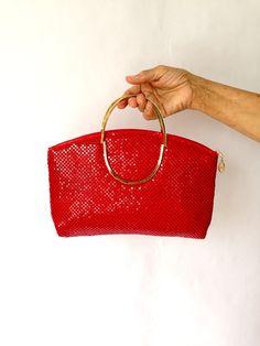Vintage 1980s Handbag | VTG Handbag | Red Metal Mesh Bag | Red Vintage Purse |  Purse | Vintage  Handbag | 80s Purse | 80s Bag