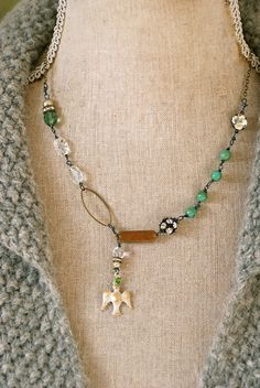 Faith. rhinestonebohemianholiday dove necklace. by tiedupmemories