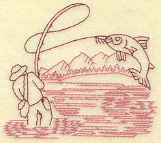 Embroidery Patterns of fish | Individual Machine or Hand Embroidery Designs. We have to do something for the Men! jwt