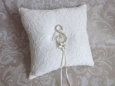 Embroidered  Lace Wedding Ring Pillow by creations4brides on Etsy, $44.00