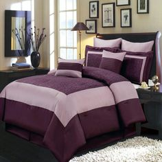Luxury Comforter Set Wendy Purple Bedding Set with Pillows and Shams Luxury Comforter Sets, Grey Comforter Sets, King Size Bedding Sets, Purple Comforter, Purple Bedding Sets, Bedding And Curtain Sets, Curtains, Bedroom Sets, Bedrooms
