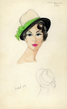 433774bae24 Halston Two-Toned Black and White Slouch Hat by FIT Library Department of  Special Collections
