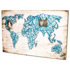 Wooden Plaque with World Map String Art photo 1