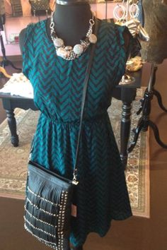 Match this cute Chevron dress with the perfect statement necklace and messenger bag! #spoiledgirl #boutique #womens #fashion