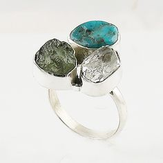 Moldavite Meteorite, Herkimer Diamond & Turquoise Sterling Silver Ring - keja Jewelry