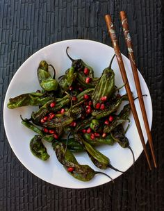 Shishito Peppers with Pomegranate Ponzu - Baby Bird's Farm and Cocina My Recipes, Vegan Recipes, Favorite Recipes, Dried Peppers, Veggie Stir Fry, Fish Sauce, Healthy Eating, Healthy Food