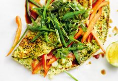 Spinat-Omelett mit Kaiserschoten und Paprika Seaweed Salad, Thorsten, Snacks, Avocado Toast, Vegetable Pizza, Beverages, Vegetables, Breakfast, Ethnic Recipes