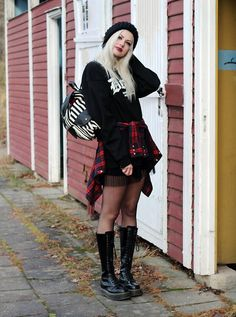 Get this look: http://lb.nu/look/7924542  More looks by Sotzie Q: http://lb.nu/sotzie  Items in this look:  Wholesalebuying Striped Backpack, Mishka Death Sweater, Dr. Martens Black Boots, Second Hand Tartan Shirt   #gothic #grunge #street