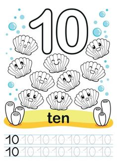 Coloring printable worksheet for kindergarten and preschool. Training exercises for writing numbers. Underwater background with marine life, corals and algae. A bright large number and samples for writing. Numbers Preschool, Learning Numbers, Toddler Preschool, Preschool Activities, Tracing Worksheets, Kindergarten Worksheets, Printable Worksheets, Coloring Worksheets, Free Coloring